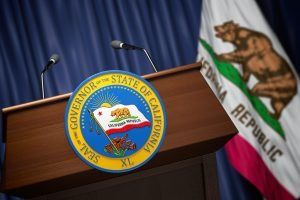 Press conference of governor of the state of California concept.